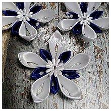 Dekorácie - Bielo-modré ozdoby na stromček - 10101961_