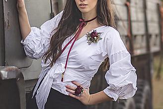 Prstene - Kvetinový bordó prsteň - 10099395_