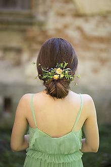 Ozdoby do vlasov - Svadobný polvenček v odtienoch žltej - 10102093_