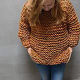 Svetre/Pulóvre - pletený sveter FREE okrový melír - 10102903_