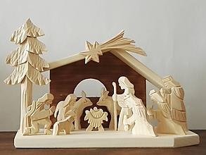 Dekorácie - Betlehem drevený 3-kráľový stredný - 10099061_