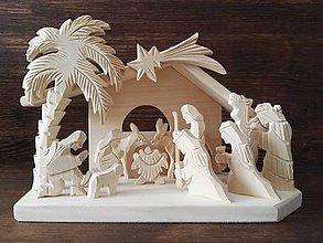 Dekorácie - Betlehem drevený s palmou veľký - 10099301_