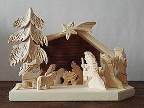 Dekorácie - Betlehem drevený 3-kráľový malý - 10099899_