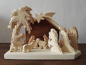 Dekorácie - Betlehem drevený s palmou malý - 10100123_