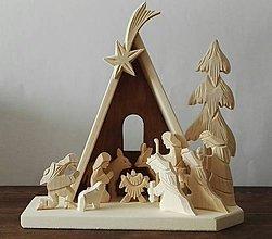 Dekorácie - Betlehem drevený 3-kráľový vysoký - 10100170_