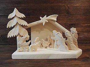 Dekorácie - Betlehem drevený 3-kráľový malý - 10100665_