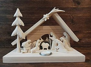 Dekorácie - Betlehem drevený s čaj. sviečkou - 10100747_