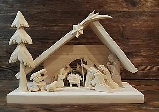 Dekorácie - Betlehem drevený 3-kráľový veľký - 10101043_