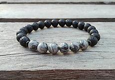 Šperky - Náramok - láva, jaspis krajinný - 10101648_