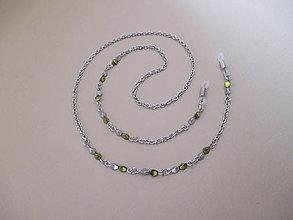 Iné šperky - Retiazka na okuliare - zeleno-strieborná - chirurgická oceľ - 10102617_