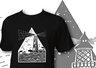 Oblečenie - Pánske čierne tričko - Maják - 10099692_