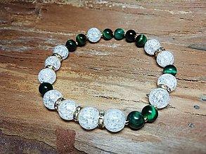 Náramky - Luxusný náramok s krištáľom a zeleným tigrím okom - 10099092_
