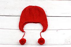 Detské čiapky - Červená ušianka zimná EXCLUSIVE FINE - 10102664_