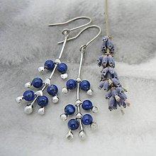 Náušnice - Levanduľa - náušnice modré - 10100509_