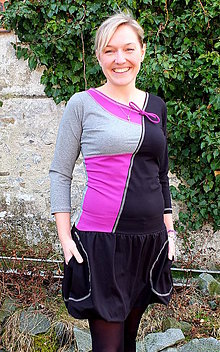 Šaty - DREAMS COME TRUE... mix dress (šedý melír/purpur) - 10103610_