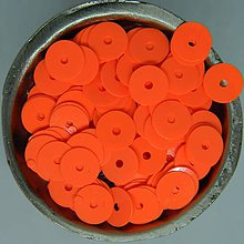 Iný materiál - Flitre hladké oranžové 6mm - 10102084_