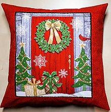 Úžitkový textil - Povlak na vankúš - Vianoce za dverami - 10102373_
