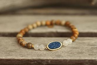 Náramky - Náramok z minerálov mesačný kameň, jaspis, drúza - 10098859_