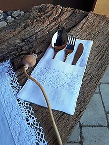 Úžitkový textil - Ľanové puzdro na príbor Linen Ecstasy White - 10102418_