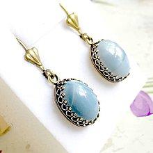 Náušnice - Natural Blue Opal Vintage Bronze Earrings / Vintage náušnice s modrým opálom /1141 - 10108416_