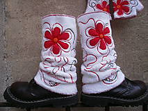 Iné doplnky - Návleky na nohy s červenou - 10106319_