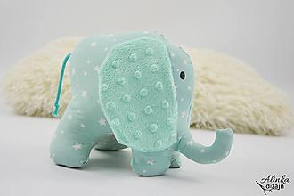 Hračky - Mäkučký sloník mentolové hviezdičky - 10104146_