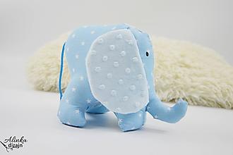 Hračky - Mäkučký sloník modré hviezdičky - 10104150_
