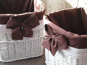 Košíky - KOŠÍKY - Biele s hnedou mašľou - 10105335_