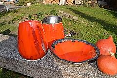 Dekorácie - Váza oranžová oválna a misa oranžová SET - 10107478_