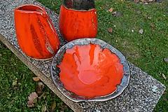 Nádoby - Váza a miska oranžovozlaté - SET - 10107674_