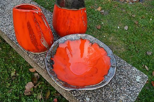 Váza a miska oranžovozlaté - SET
