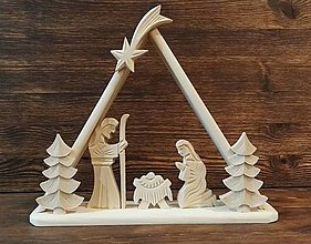 Dekorácie - Betlehem drevený - trojuholník veľký - 10107282_