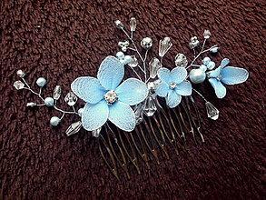 Ozdoby do vlasov - hrebienok - modré kvietky - 10104668_