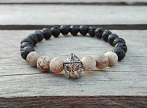 Šperky - Náramok bojovník - láva, jaspis kalahari - 10107388_