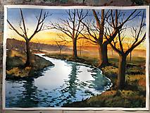 Obrazy - Hmlistá jeseň - akvarelový obraz - 10106816_