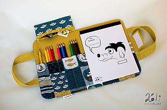 Detské tašky - Detský kufrík - pastelkovník Lodičky (horčicový) - 10107770_