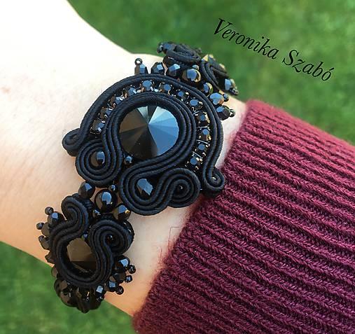 Ručne šitý náramok / Soutache bracelet Adriana - Swarovski