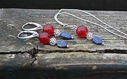 Lapis lazuli, jadeit, striebro sada náušnice a retiazka s príveskom