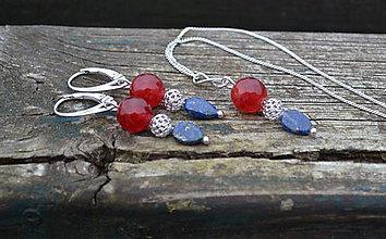 Sady šperkov - Lapis lazuli, jadeit, striebro sada náušnice a retiazka s príveskom - 10104124_