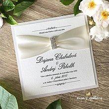 Papiernictvo - Svadobné oznámenie ~Crystal crema kocka~ - 10105770_