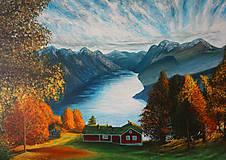 Obrazy - Jesenný fjord - maľba akrylom - 10105368_