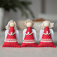 Dekorácie - Anjelikovia na zavesenie SADA červení s bielymi bodkami - 10104490_