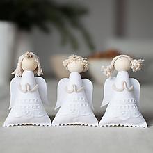 Dekorácie - Anjelikovia na zavesenie SADA biela sviatočná - 10104783_