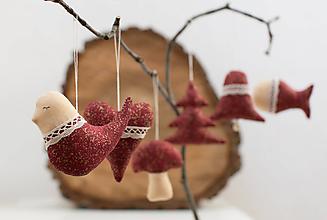Dekorácie - Vianočné ozdoby - vínovo zlatá SADA - 10105221_