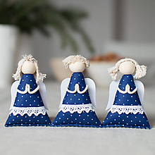 Dekorácie - Anjelikovia na zavesenie SADA modrotlač s paličkovou krajkou I. - 10106399_