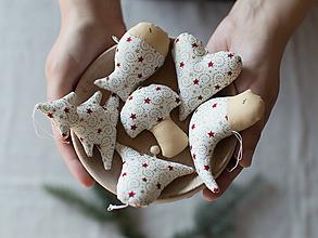 Dekorácie - Vianočné ozdoby - bordovo zlatá hviezdička SADA - 10107699_