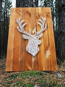Dekorácie - Jeleň na dreve - 10105866_