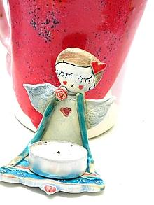Svietidlá a sviečky - Anjel svietnik  tyrkysový - 10106625_