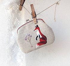 Peňaženky - Peňaženka XL Líška s fialovým kvietkom - 10104231_