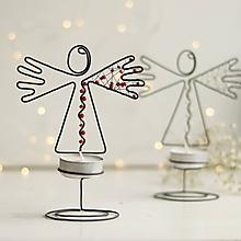 Svietidlá a sviečky - svietnik-anjelik (Červená) - 10109556_
